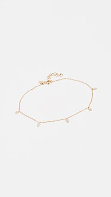 EF Collection 14k Diamond Mini Teardrop Chain Anklet
