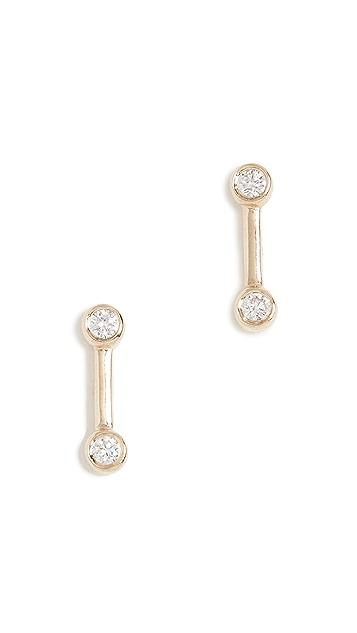 EF Collection Серьги-гвоздики из 14-каратного золота с бриллиантами в закрепке «безель» и золотой полоской