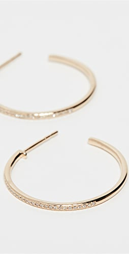 EF Collection - 14k Half Diamond Essential Hoop Earrings