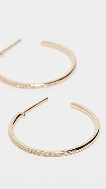 EF Collection 14k Half Diamond Essential Hoop Earrings