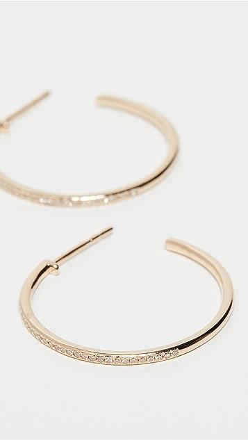 EF Collection Серьги-кольца Half Essential из 14-каратного золота с бриллиантами