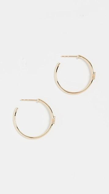 EF Collection 14k Diamond Star Essential Hoop Earrings