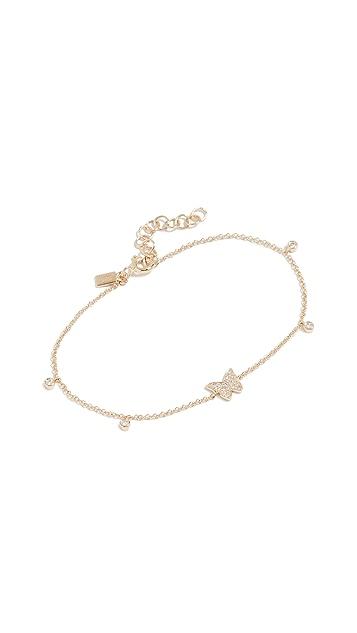 EF Collection Браслет-цепь Butterfly из 14-каратного золота с бриллиантами в закрепке «безель»