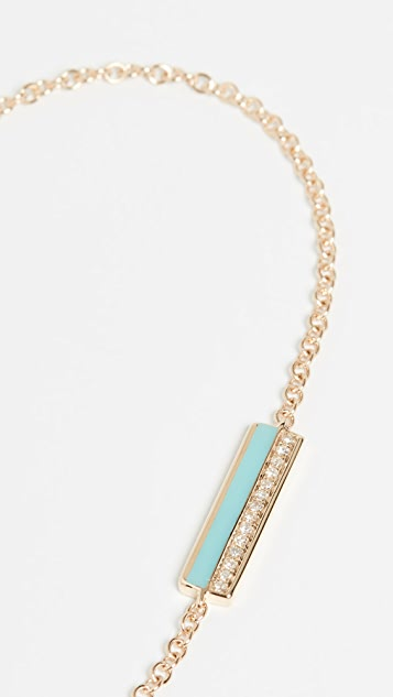 EF Collection Эмалированный браслет из цепочек в стиле боло с бруском из 14-каратного золота с бриллиантами и эмалью