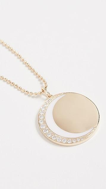 EF Collection Колье из 14-каратного золота с бриллиантами и эмалевым месяцем