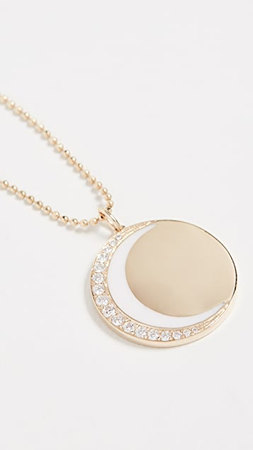 EF Collection 14k 钻石和珐琅新月形项链