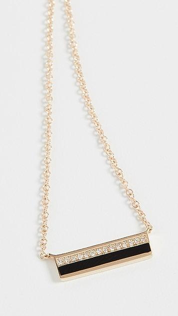 EF Collection 14K 金迷你钻石珐琅条扣项链
