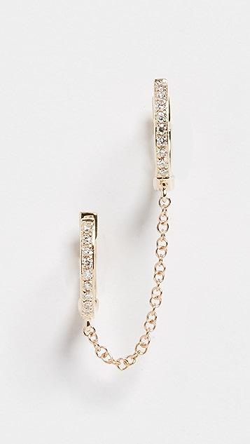 EF Collection 14k 钻石双层贴耳链式耳环