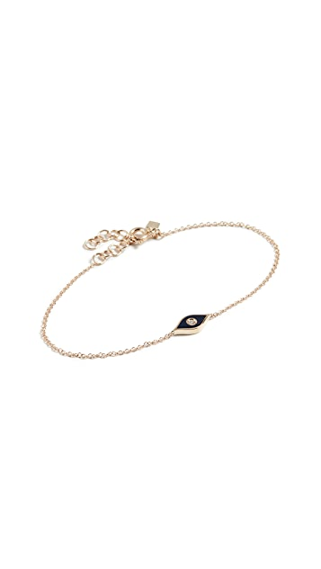 EF Collection 14k Diamond & Enamel Evil Eye Chain Bracelet