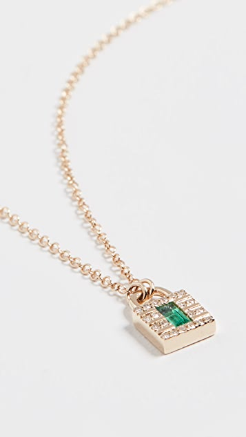 EF Collection 14k Mini Diamond Lock Necklace