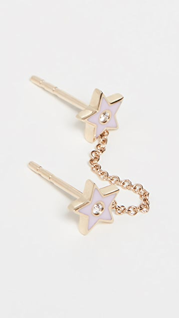 EF Collection 14k Diamond & Enamel Star Chain Double Stud Earring