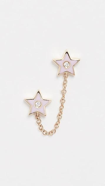 EF Collection 14k 钻石和珐琅星星链式双耳钉