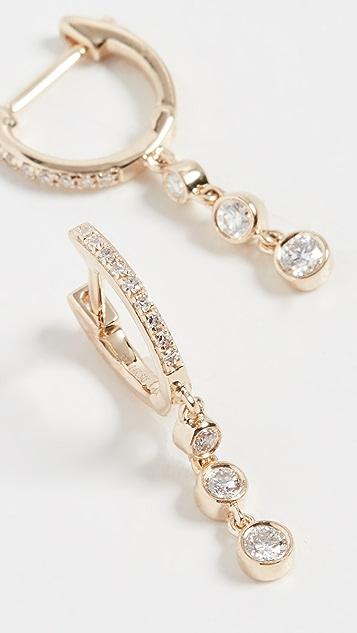 EF Collection 14k Diamond Huggie Earrings with 3 Bezel Drop