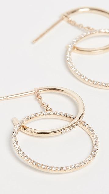 EF Collection Серьги-гвоздики из 14-каратного золота с бриллиантами и пересекающимися кольцами