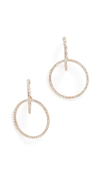 EF Collection 14k Diamond Interlocking Hoop Stud Earrings