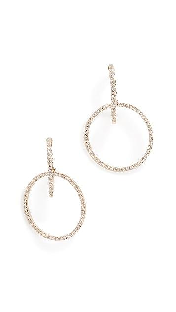 EF Collection 14K 钻石联锁圈式耳钉