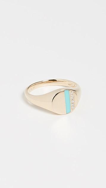 EF Collection 14k 钻石和珐琅条纹图章戒指