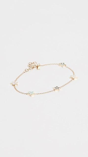 EF Collection 14k 5 Diamond & Enamel Star Chain Bracelet