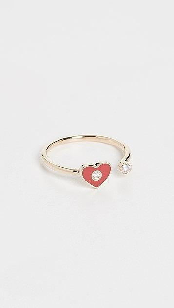 EF Collection 14k 镂空钻石 & 红色珐琅心形戒指