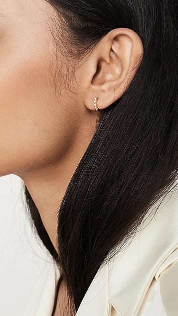 EF Collection 14k Mini Diamond Bezel Huggie Earrings