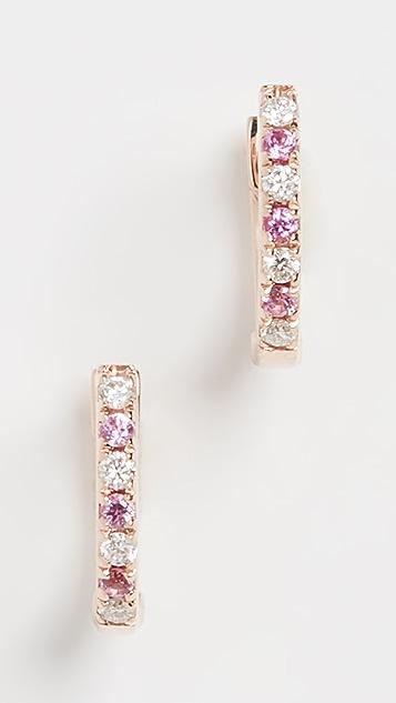 EF Collection Миниатюрные серьги Dot из 14-каратного золота с бриллиантами, розовыми сапфирами и невидимой застежкой