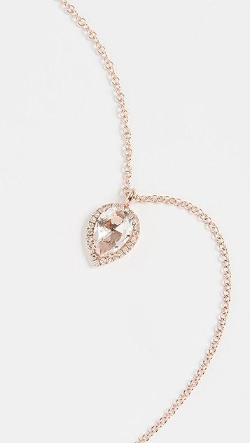 EF Collection 14K 钻石白黄玉泪滴项链