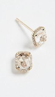 EF Collection 14k 钻石白黄晶耳钉