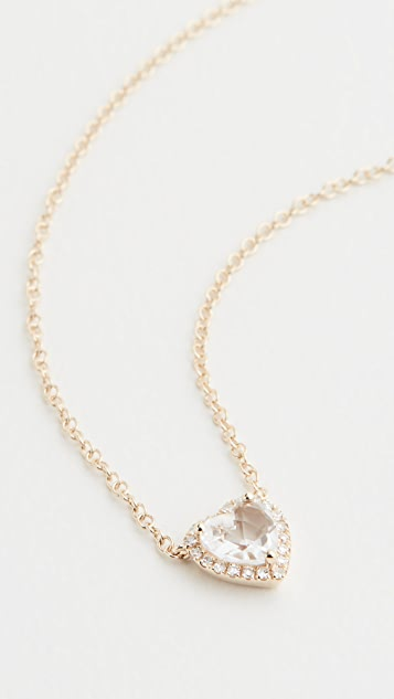 EF Collection 14k Diamond White Topaz Heart Necklace
