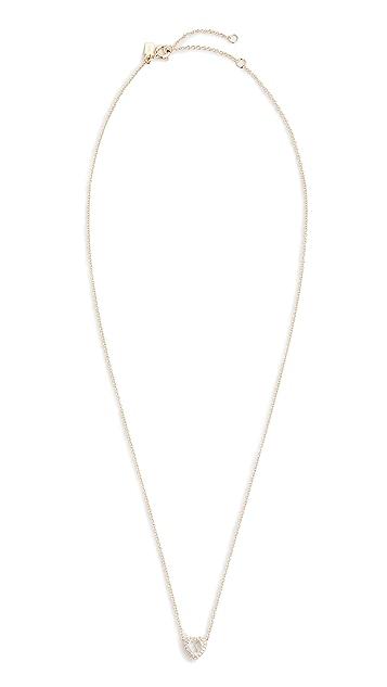 EF Collection 14k 钻石白色黄晶心形项链
