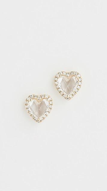 EF Collection 14k Diamond White Topaz Heart Stud Earrings