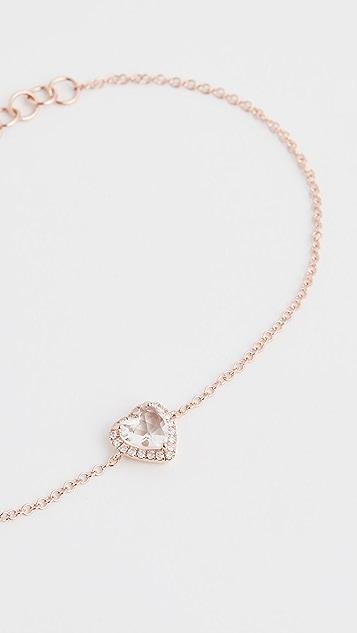 EF Collection Браслет-цепь Heart из 14-каратного золота с бриллиантами и белыми топазами