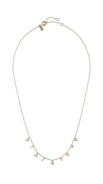 EF Collection 14k Diamond Bezel & Pearl Necklace
