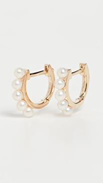 EF Collection 14k Mini Pearl Huggie Earrings