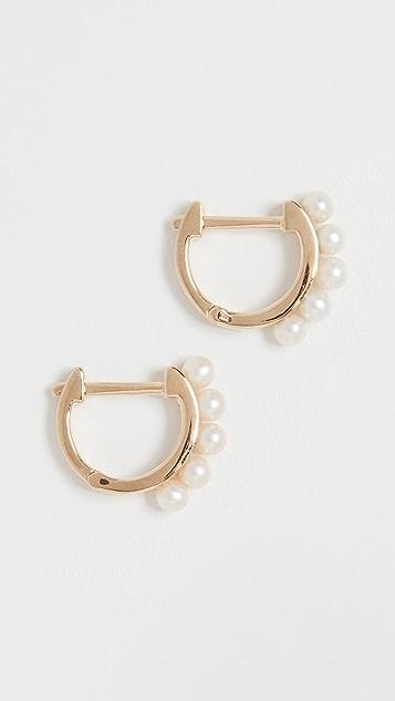 EF Collection 14k Mini Pearl Huggie Earrings