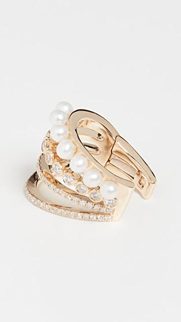 EF Collection 14k Diamond Bezel Pearl Cage Ear Cuff