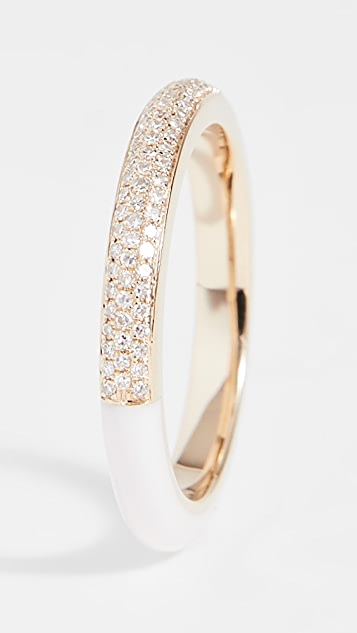 EF Collection 14K 双色钻石和白色珐琅戒指