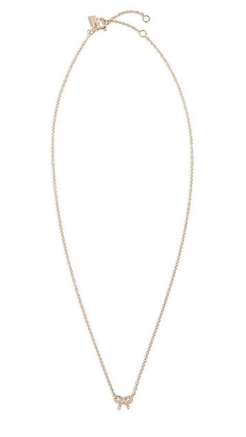 EF Collection 14k Diamond Mini Bow Necklace
