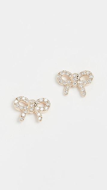 EF Collection 14k 钻石迷你蝴蝶结耳钉