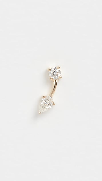 EF Collection 14k 独立宝石和梨形双耳钉