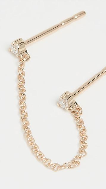 EF Collection 14k 单只双钻链条耳钉