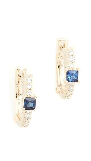 EF Collection 14k 蓝色蓝宝石和钻石公主切割迷你贴耳耳环
