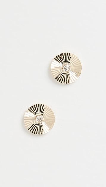 EF Collection 14k 钻石圆牌耳钉