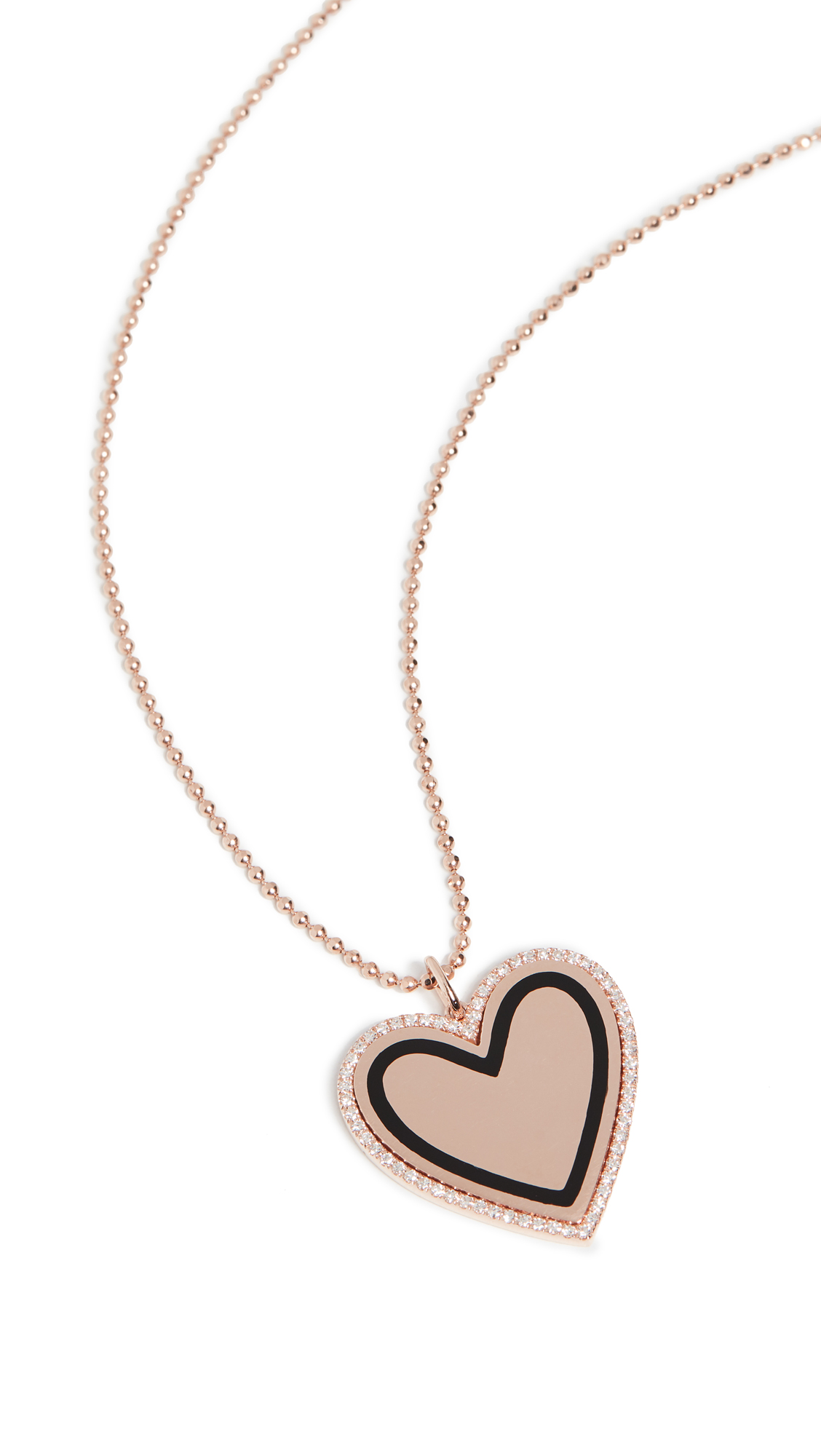 EF Collection 14k Diamond & Black Enamel Heart Necklace