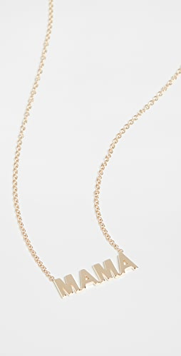 EF Collection - 14k Mini Gold Mama Initial Necklace