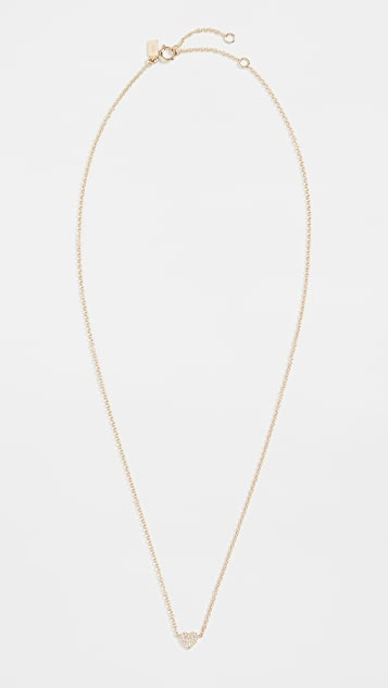 EF Collection 14k Diamond Single Mini Heart Necklace