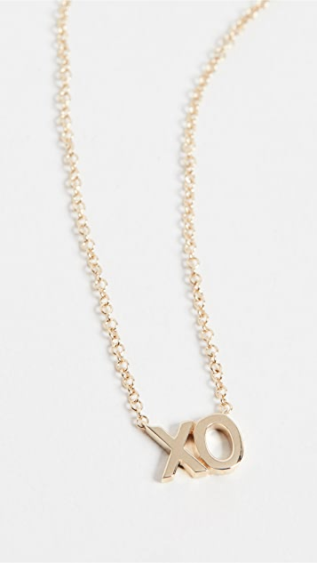 EF Collection 14k Gold XO Initial Necklace