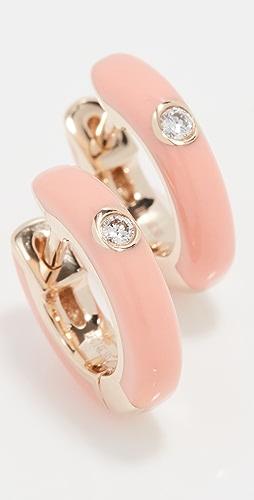 EF Collection - 单颗钻石珐琅贴耳耳环