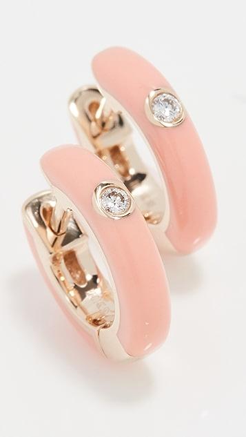 EF Collection 单颗钻石珐琅贴耳耳环