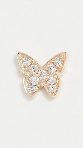 EF Collection 单颗钻石蝴蝶耳钉