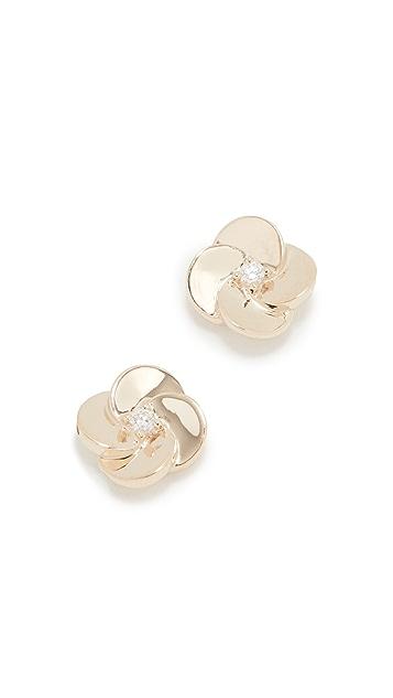 EF Collection 钻石花瓣耳钉